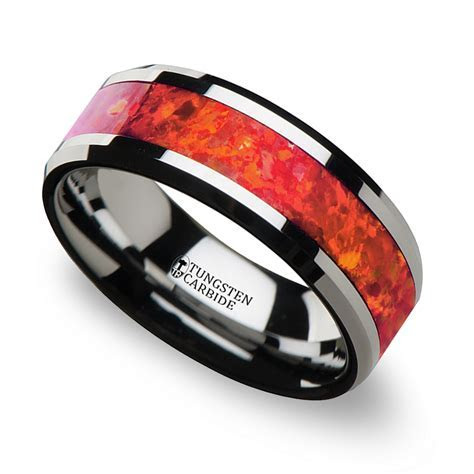 Red Opal Inlay Men's Wedding Ring in Tungsten (8mm)