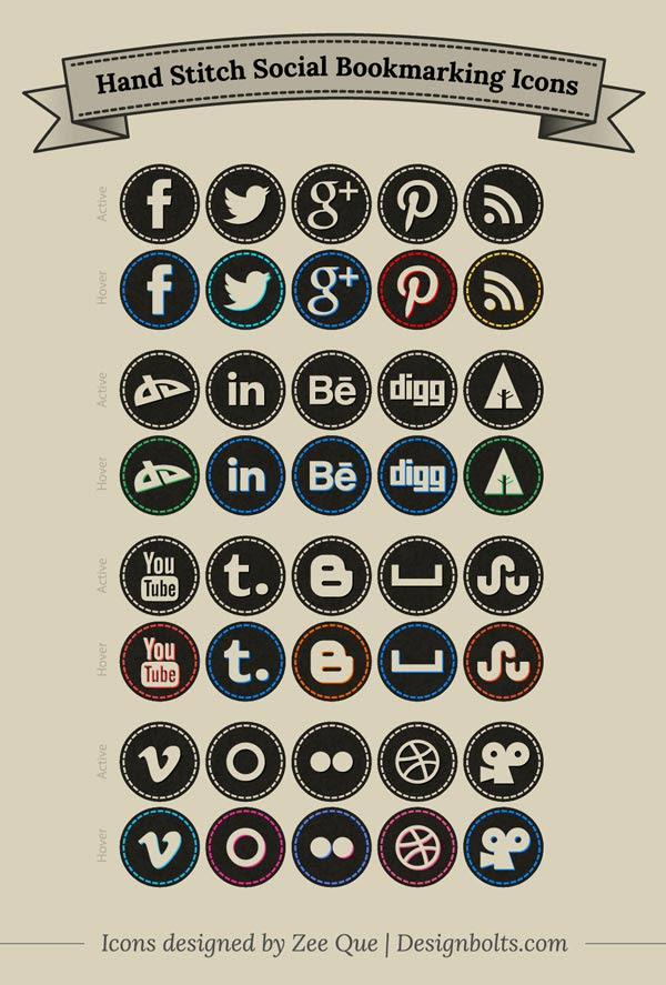 Free Hand-Stitch-Social-Bookmarking-Icons-Set