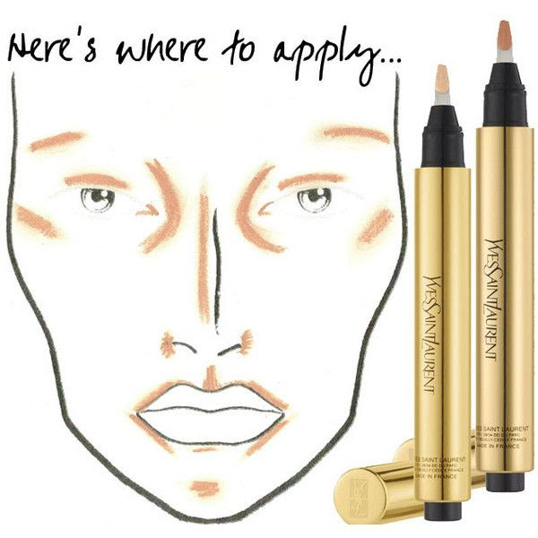 An Awesome Visual Tutorial On Where Exactly to Apply YSL Touche Eclat... ❤ liked on Polyvore