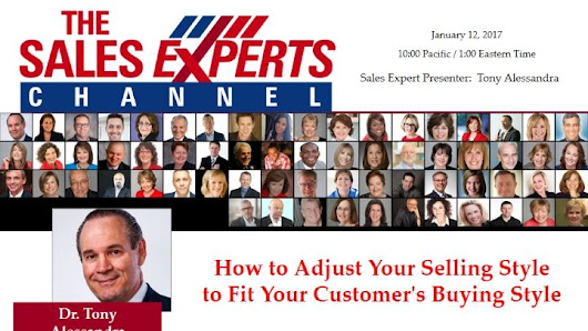 "Caryn Kopp on Twitter: ""Adjust to Customer Buying Styles -Free webinar by @TonyAlessandra on The Sales Experts Channel 1/12:  @TheSalesXperts """