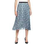 T Tahari Womens Ornate Medallion A-Line Pleated Midi Skirt Blue