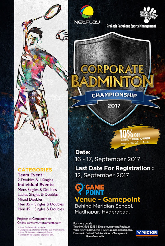 Netplay-PPSM Corporate Badminton Championship | Hyderabad | MeraEvents.com