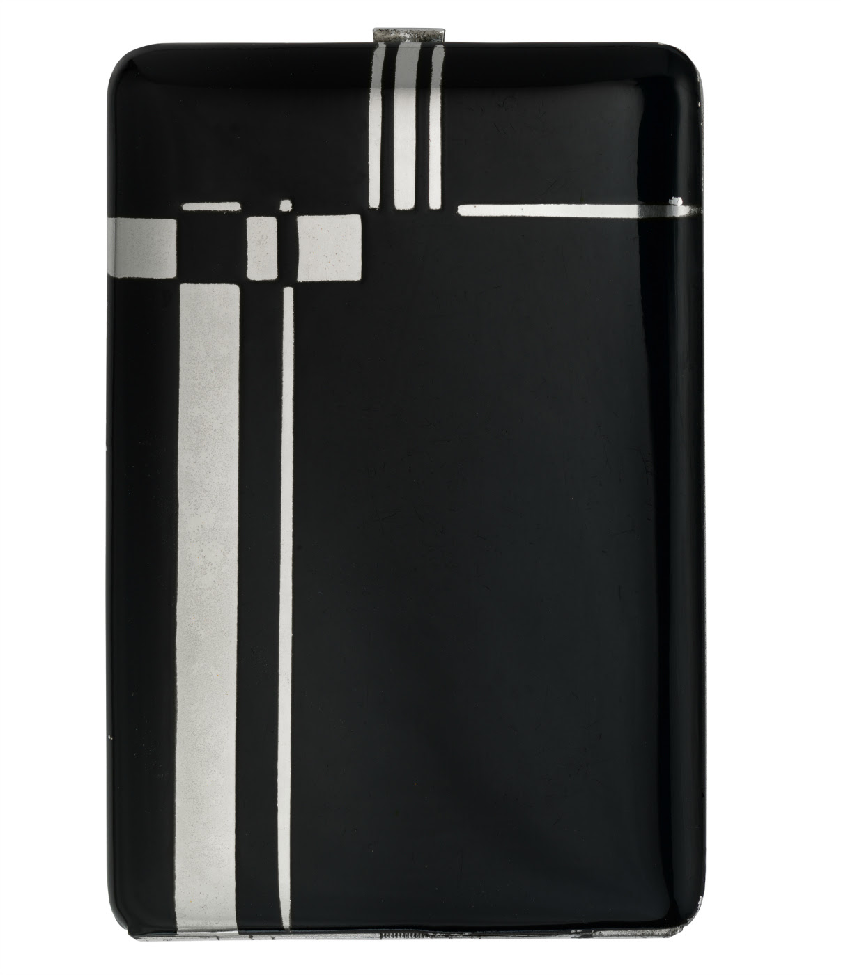 Cigarette cases (France, 1934), black enamel on silvered metal (© Rodney and Diana Capstick-Dale)