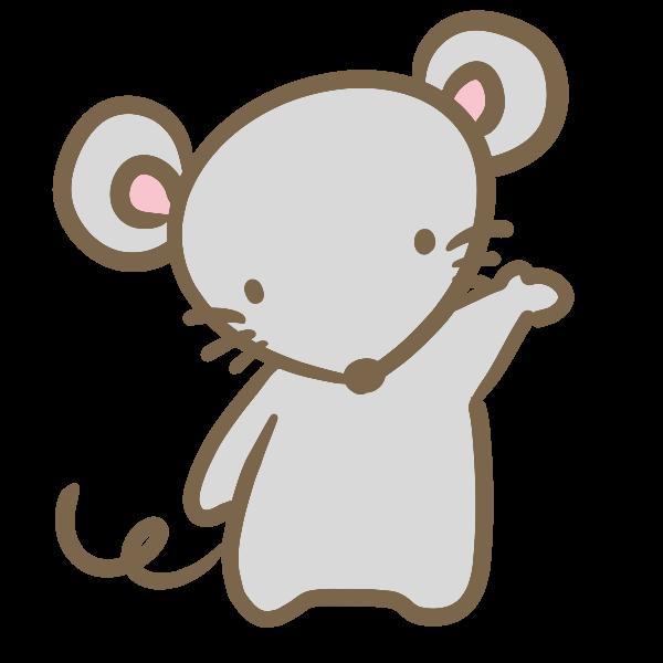 ネズミ鼠動物シルエット無料イラスト素材