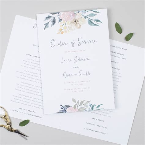Order of service templates and inspiration for weddings