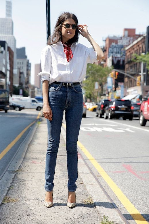 Le Fashion Blog Blogger Style Brown Sunglasses Red Bandana Neck Scarf White Button Down Shirt High Waisted Skinny Jeans Edgy Belt Nude Python Pumps Via Man Repeller