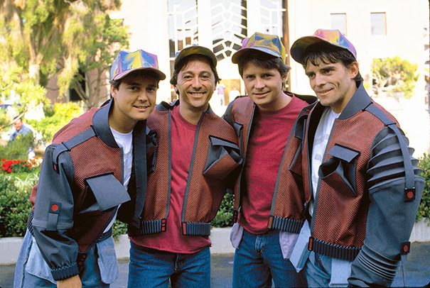 Michael J. Fox With Three Extra Martys: From Left, Photo Double Kevin Holloway, Stand-in Robert Bennett, And Stunt Double Charlie Croughwell On The Set Of Back To The Future Part Ii