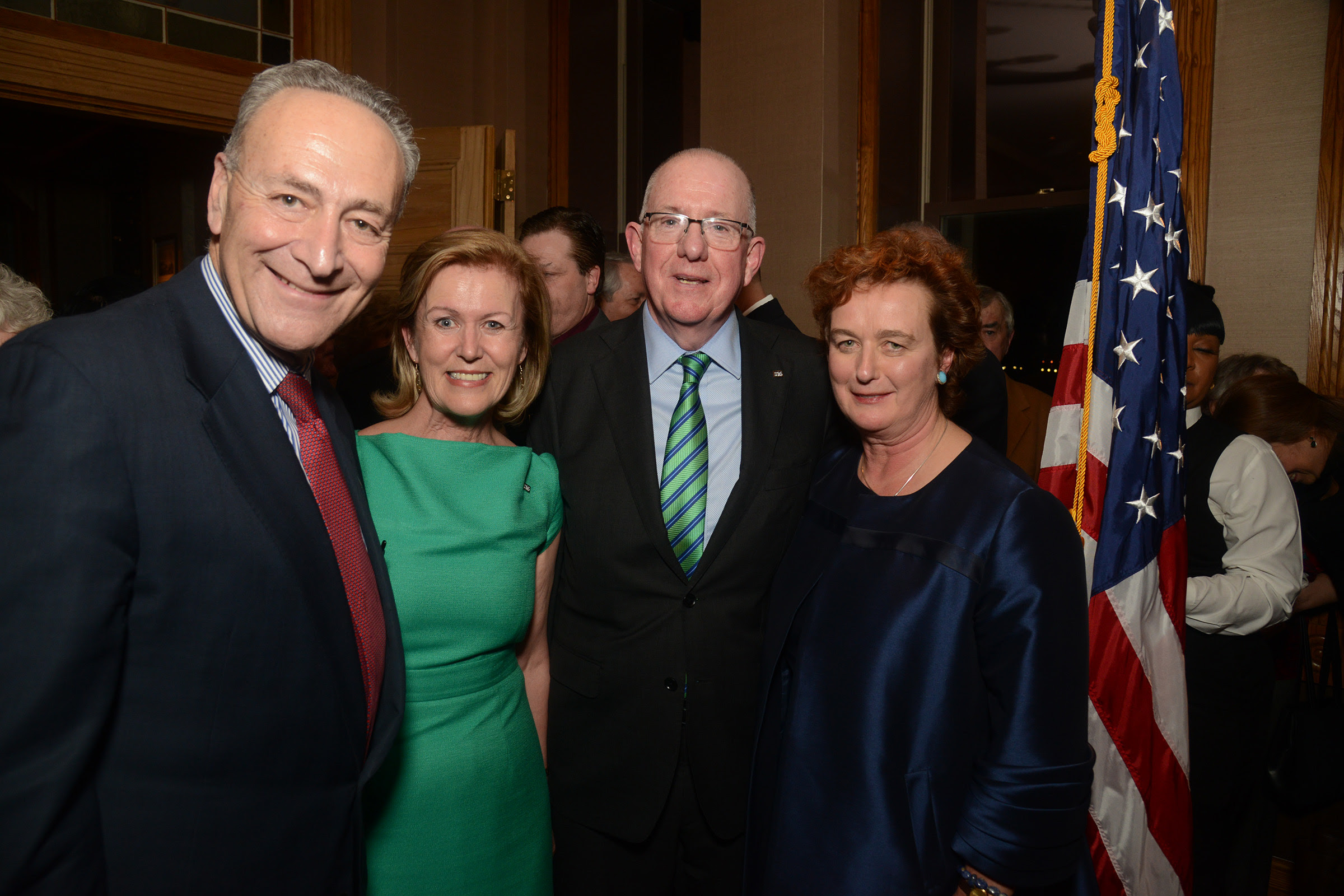 New York Senator Chuck Schumer with Ambassador Anne Anderson, Minister Charlie Flanagan and Consul General Barbara Jones at Pier A in January. (Photo: James Higgins)
