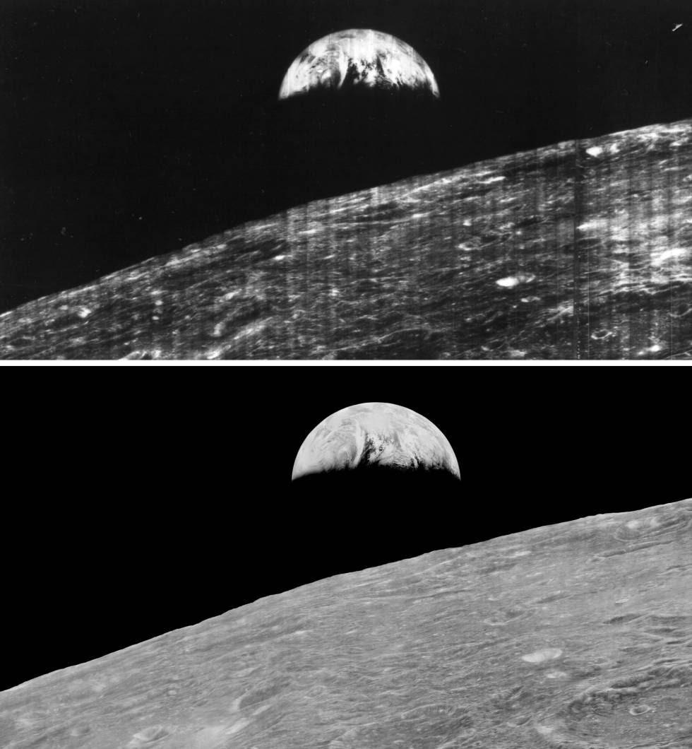 La imagen original tomada en 1966 junto a la mejorada en 2008.