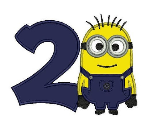 Bob minion birthday number 2 applique machine embroidery 2 sizes 5x7 and 6x10