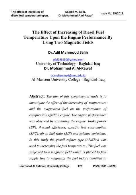 (PDF) The effect of increasing of diesel fuel temperature
