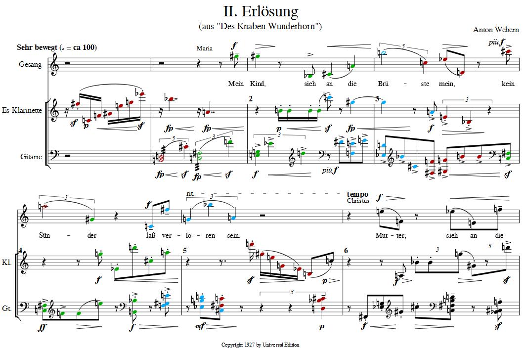 Bars 1 to 6 of Webern's Erlösung