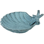Dark Blue Whitewashed Cast Iron Shell with Starfish Decorative Bowl 6""