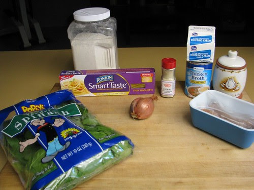 ingredients for sausage spinach pasta