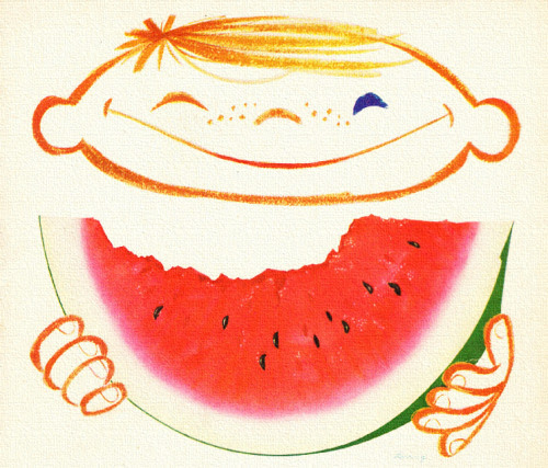 Watermelon Eating - 4th of July - detail from Morton Salt ad.