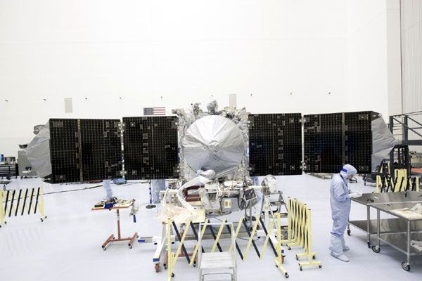 NASA's MAVEN spacecraft is prepped for display at the Kennedy Space Center in Florida, on September 24, 2013.