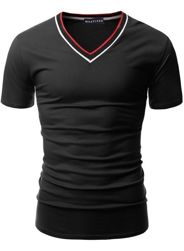 Camiseta Básica Manga Corta - Cuello en V con Contraste - en 7 Colores