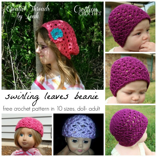 Swirling Leaves Beanie in 10 sizes, doll thru adult, designed by Creative Threads by Leah, exclusively for Cre8tion Crochet
