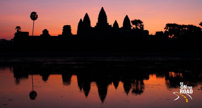 Angkor wat and its reflection at sunrise