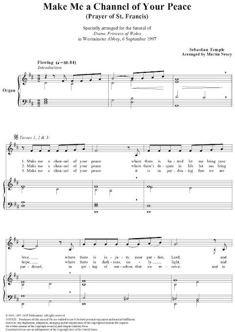 Catholic Hymn Lyrics Make Me A Channel Of Your Peace