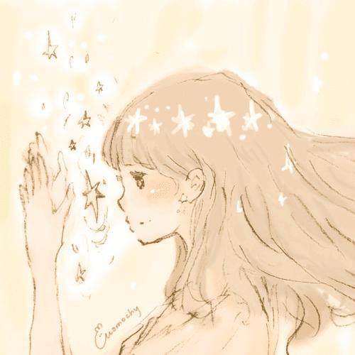 フリーアイコン女の子星