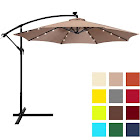 Best Choice Products 10' Solar LED Patio Offset Umbrella, Tan