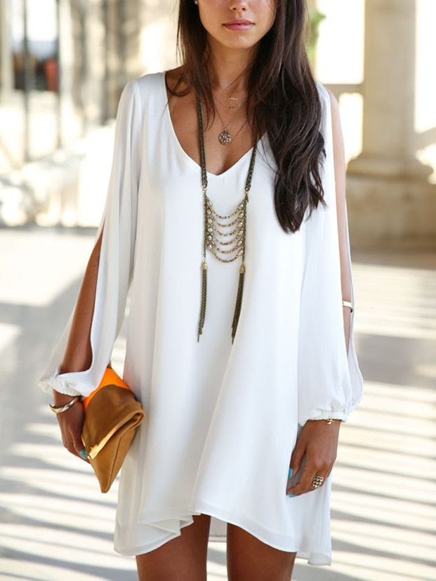 Love Love Love this Dress! Love the Sleeves! White Chiffon Shift Dress With Slit Sleeves #Summer #Whites #Chic #Stylish #Fashion