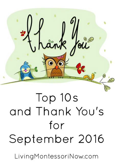 Top 10s and Thank You's for September 2016