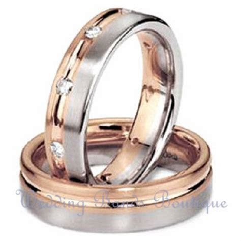 14k White Pink Rose Gold His Hers Matching Wedding Bands