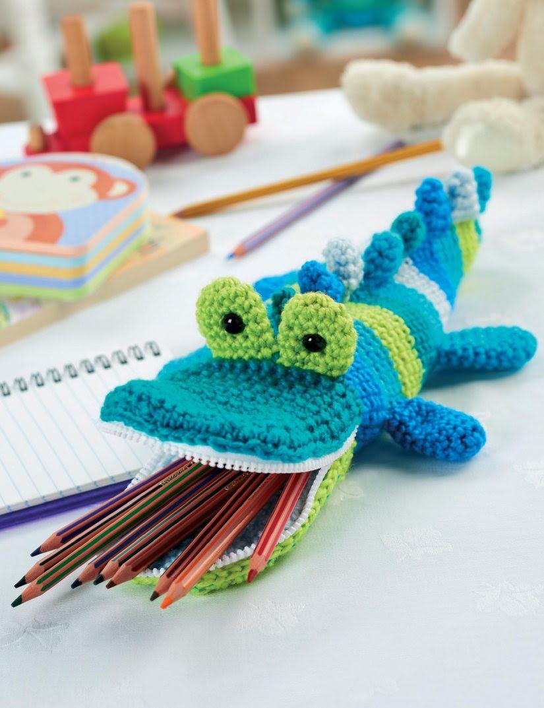 Crochet crocodile pencil case