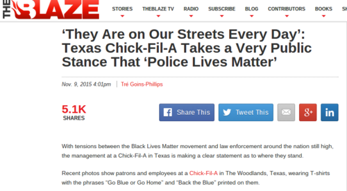 "Houston-Area Chick-Fil-A Leaves No Doubt That ""Police Lives Matter"""