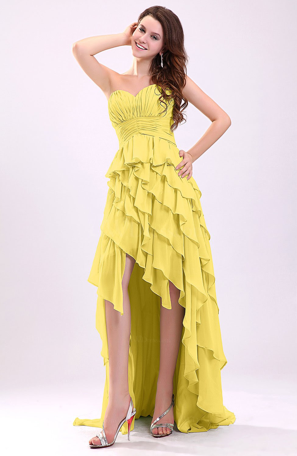 pale yellow gorgeous sweetheart lace up chiffon knee