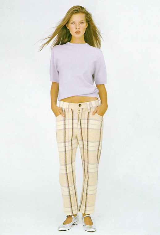 LE FASHION BLOG EDITORIAL KATE MOSS MORE DASH THAN CASH BRITISH VOGUE UK DECEMBER 1993 KIM KNOTT PASTELS PURPLE SHORT SLEEVE SWEATER TOP KNIT LIGHT PLAID TARTAN TROUSERS PANTS METALLIC SILVER MARY JANE FLATS NATURAL BEAUTY 2