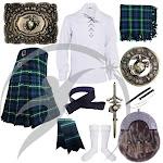 Highland Kilts Outfit Lamont Tartan US Marine Accessories Set 10 pcs 40 / XL