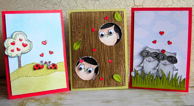 Critters in Love ATCs