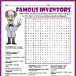 Famous Inventors Word Search Puzzle