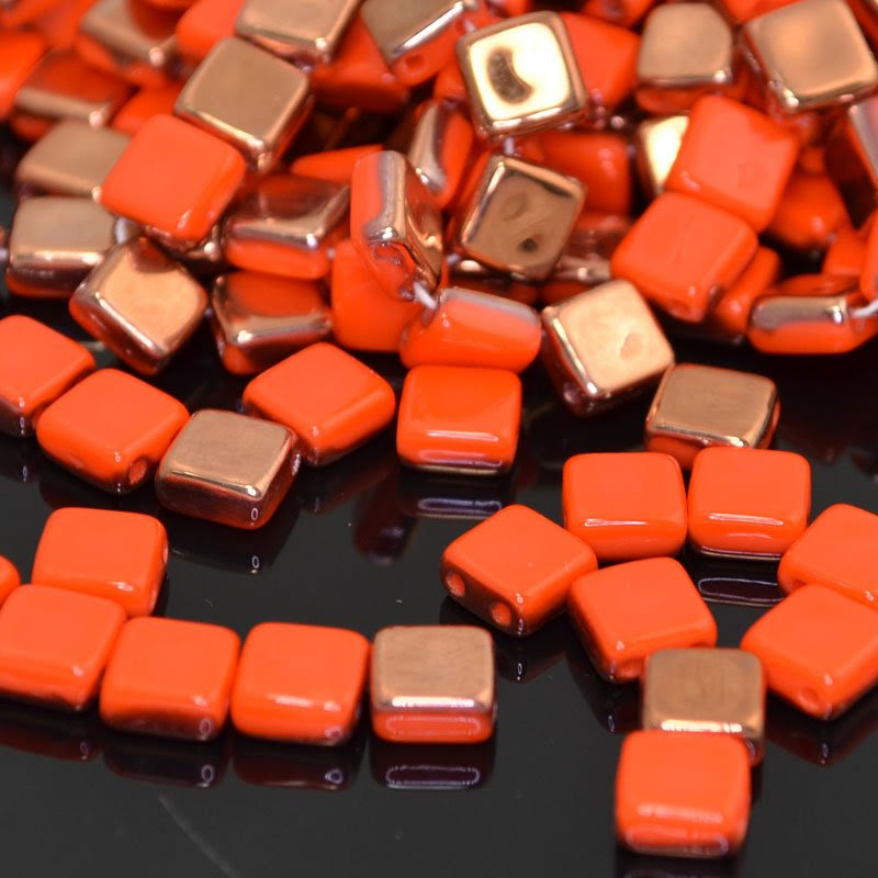 s41762 Glass Beads - 2 Hole Flat Square Tiles - Coral Apollo (25)