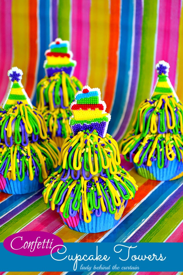 Lady Behind The Curtain - Confetti Cupcake Towers