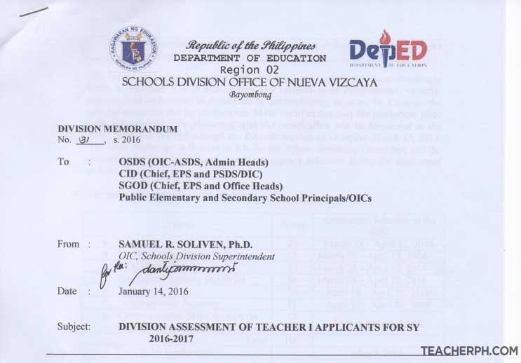Deped Nueva Vizcaya 2016 Ranking Of Teacher I Applicants