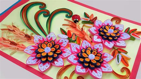 ??paper quilling card Beautiful Quilling 3D flower