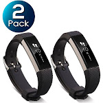 2 Pack Zodaca For Fitbit Alta - TPU Rubber Wristband Replacement Sports Watch Wrist Band Strap w/ Metal Buckle Clasp - Black
