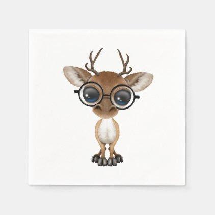 Nerdy Baby Deer Wearing Glasses Paper Napkin