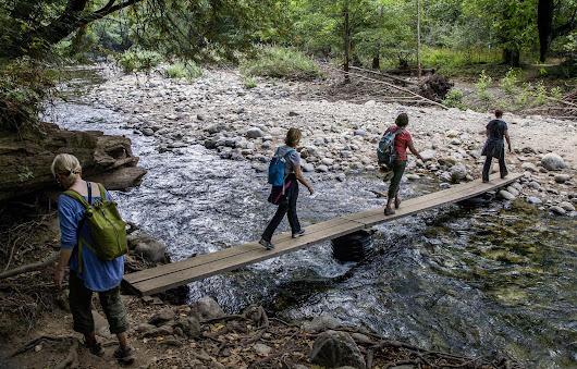 Road to Big Sur, isolated by landslides, now a footpath