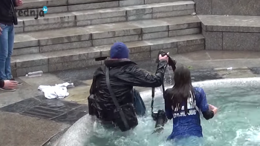 Video: Croatian High School Grads Push Photog Into Fountain, Destroy $18K in Gear