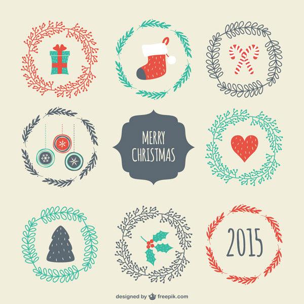 フリー素材 クリスマスアイテムを並べたデザインが可愛い手書き風