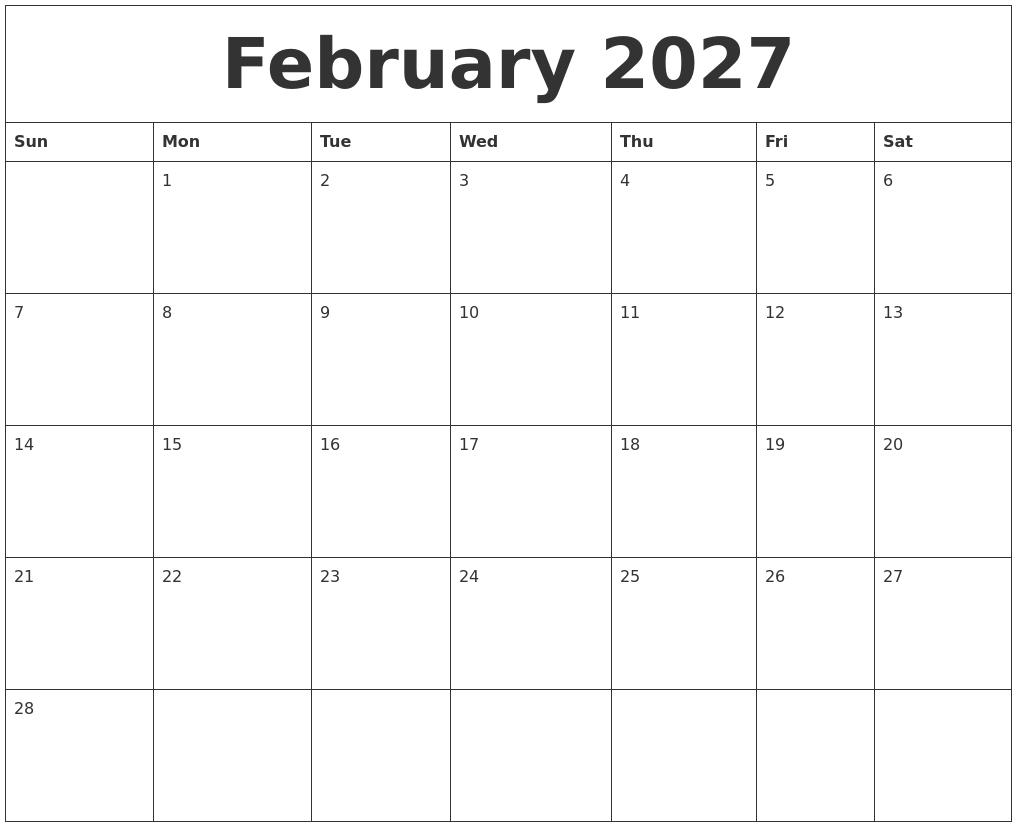 february 2027 free weekly calendar