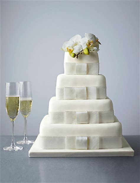 4 Tier Elegant Sponge Wedding Cake   M&S