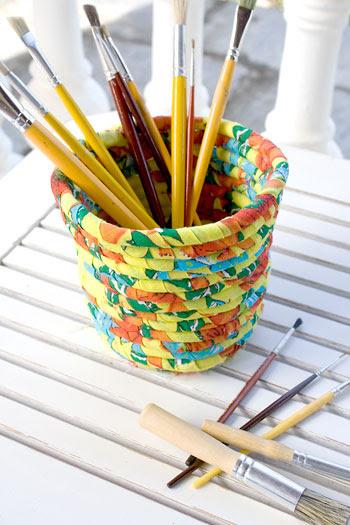 Cesto multiuso feito com retalhos de chita, artesanato em tecido