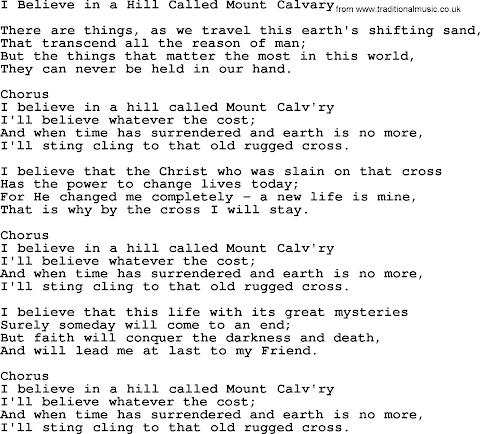 I Believe In A Hill Called Mount Calvary Lyrics