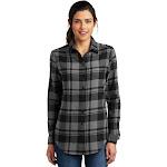 Port Authority LW668 Ladies Plaid Flannel Tunic - Grey/ Black